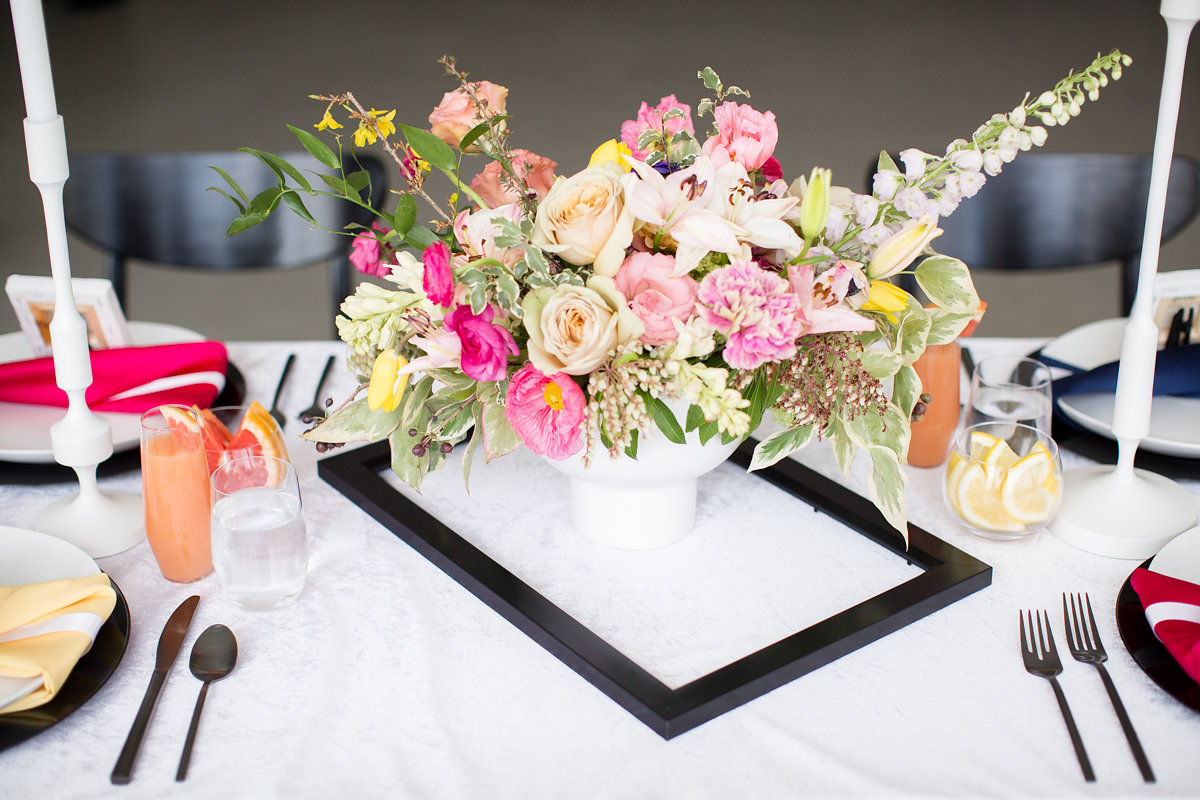 White Roses and Pink Floral Table Centerpieces Chicago Wedding Alexandra Lee Photography