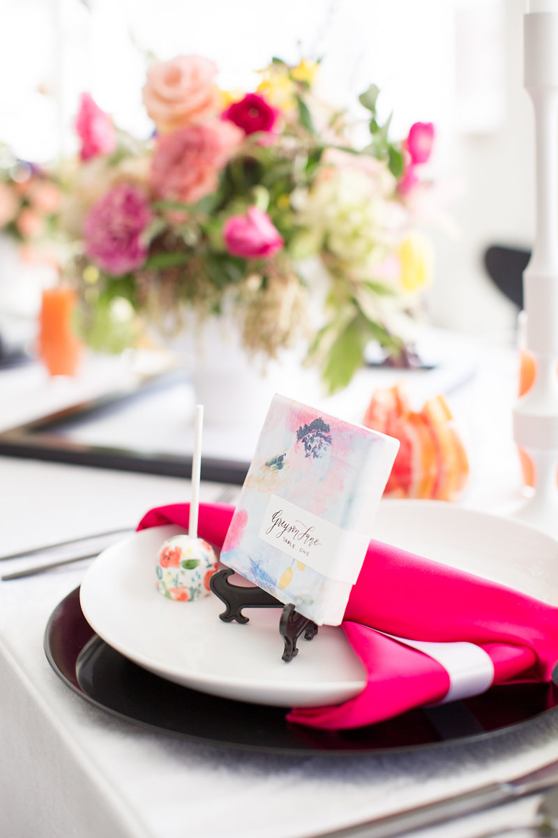 Pink Ribbon Table Settings Chicago Wedding Alexandra Lee Photography