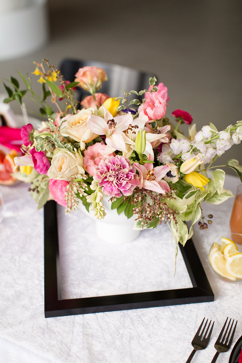 Floral Roses and Pink Table Centerpieces Chicago Wedding Alexandra Lee Photography