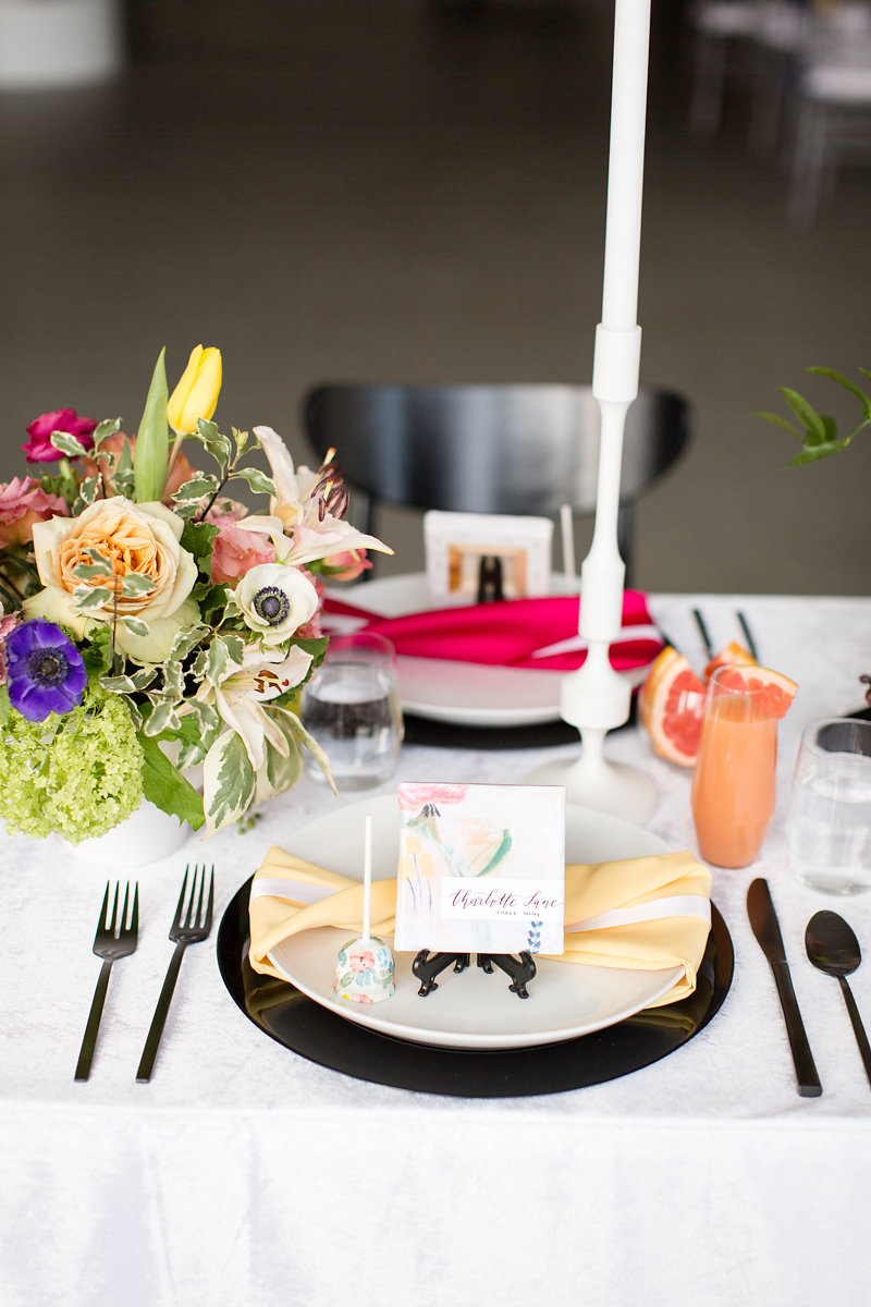 Yellow Ribbon Table Settings Chicago Wedding Alexandra Lee Photography