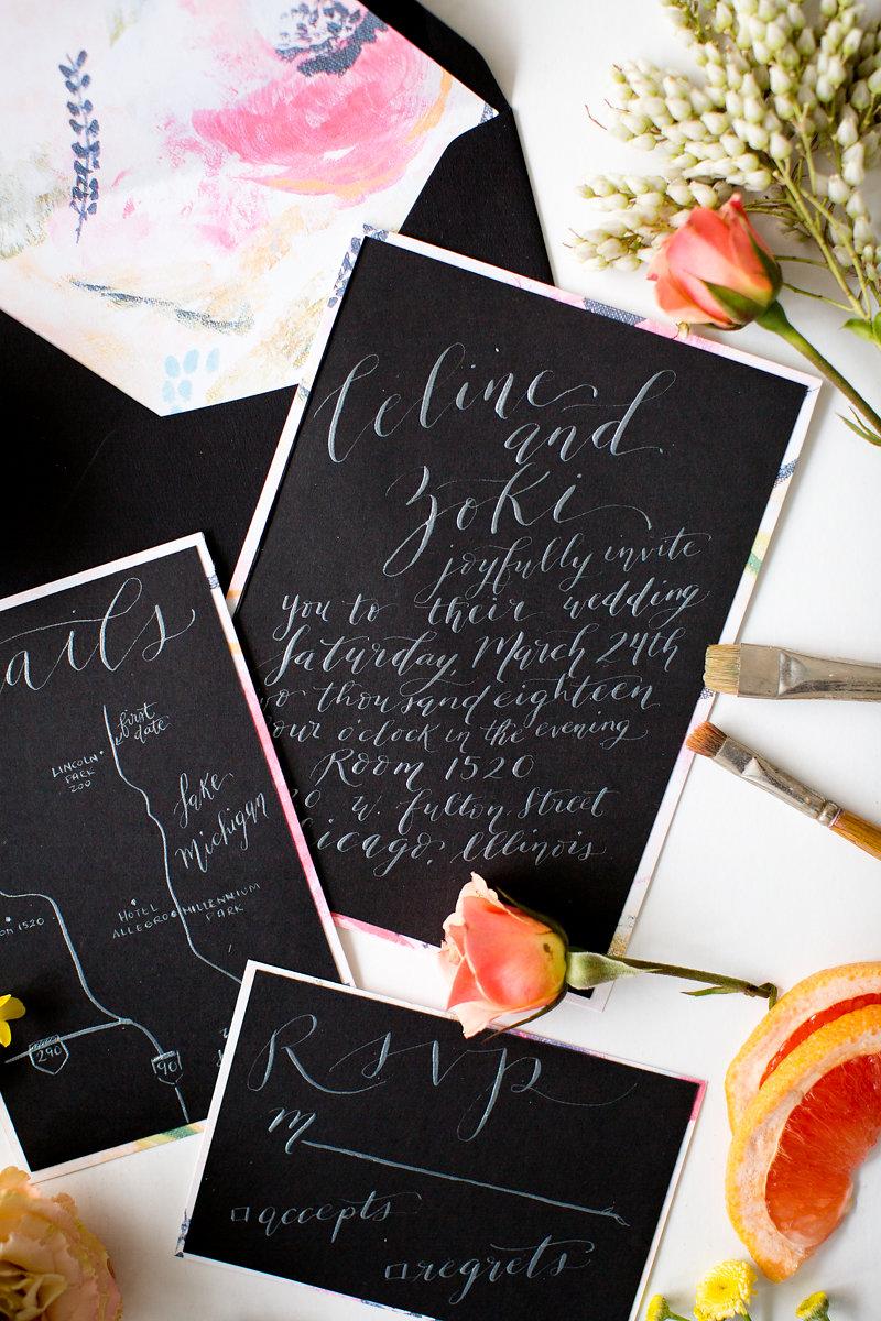 Black and White Wedding Invitations Chicago Wedding Alexandra Lee Photography