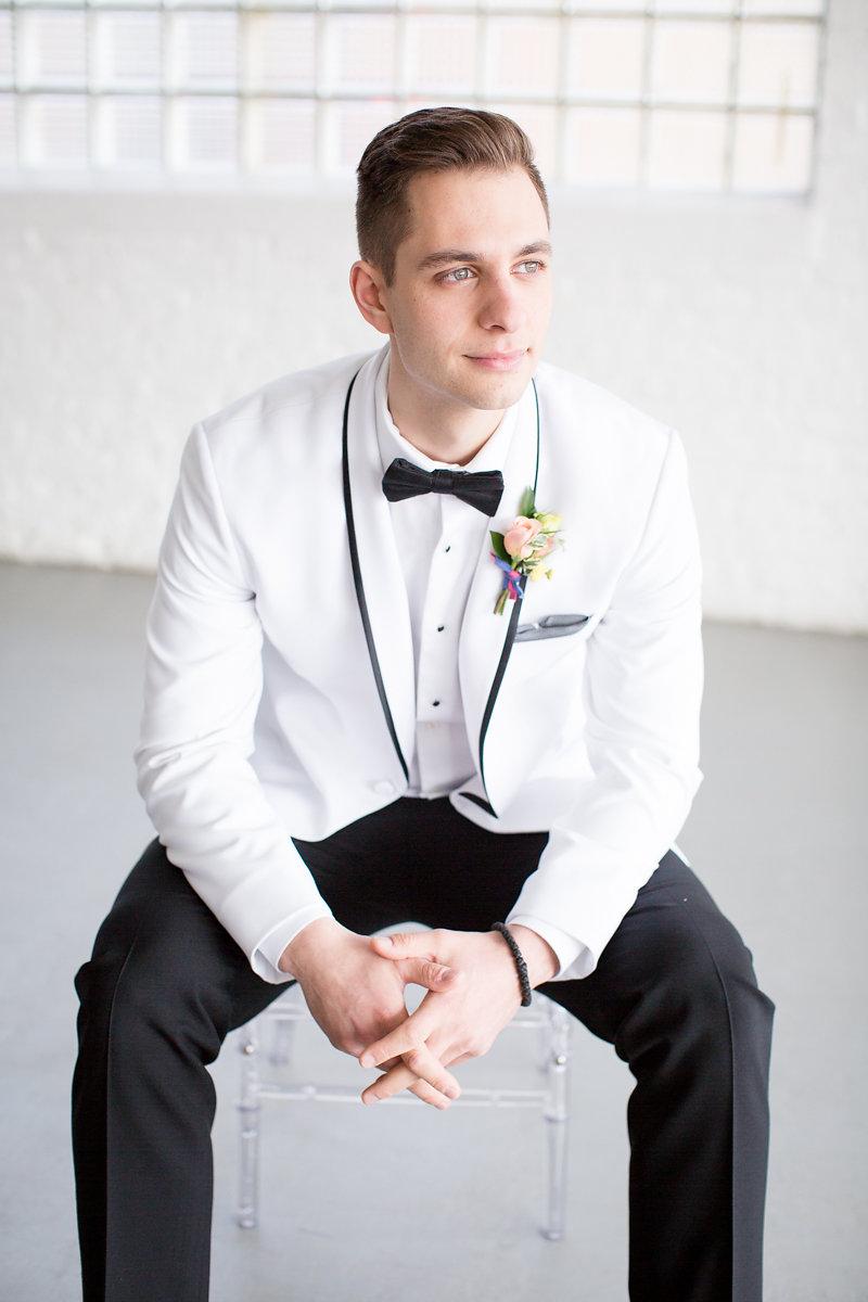 White Jacket and Black Pants Suit Chicago Wedding Alexandra Lee Photography