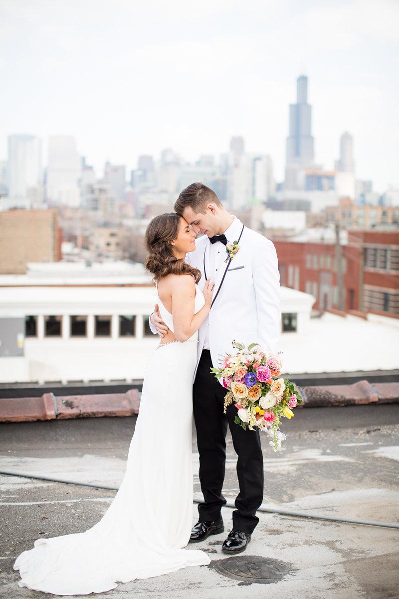 Bride and Groom Portrait Chicago Wedding Alexandra Lee Photography