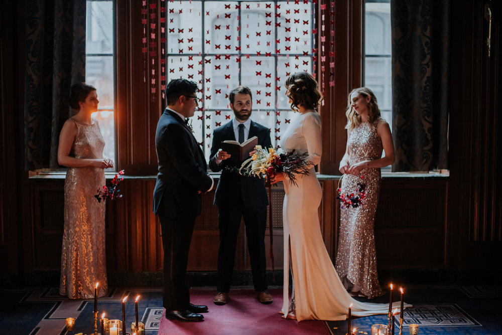 Rose Gold Sparkle Bridesmaid Dresses Chicago Wedding Allie Appel Photography