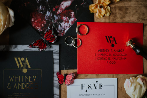 Black Red and Gold Wedding Invitation Chicago Wedding Allie Appel Photography