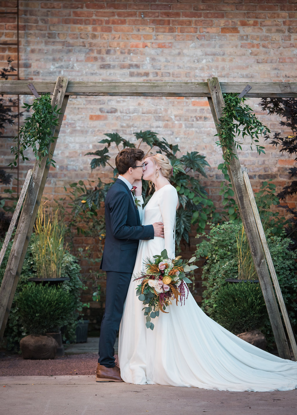 Bride and Groom Portrait Kiss Chicago Wedding Inspired Eye Photography