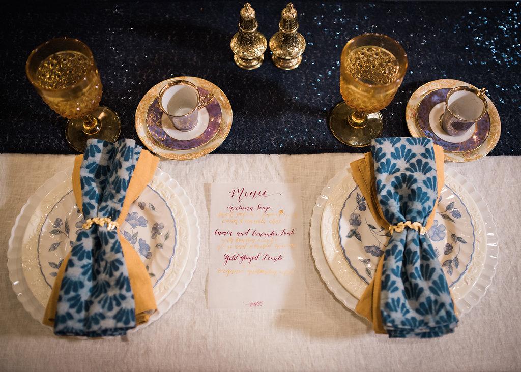 Blue Table Settings Chicago Wedding Inspired Eye Photography