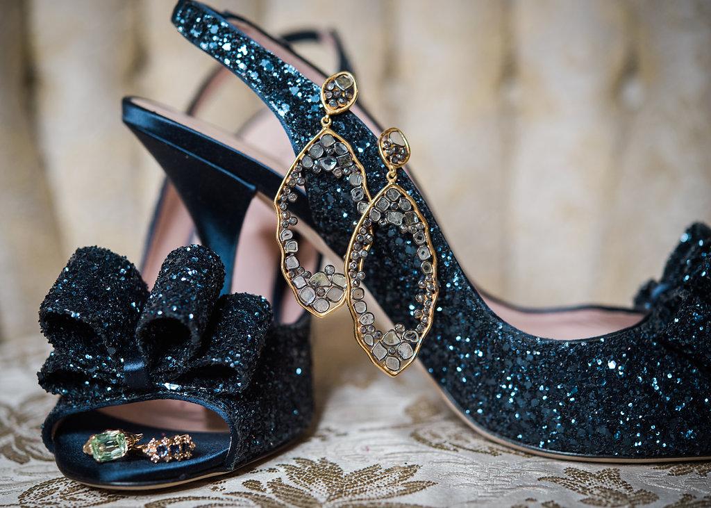Blue Sparkled Bridal Heels Chicago Wedding Inspired Eye Photography