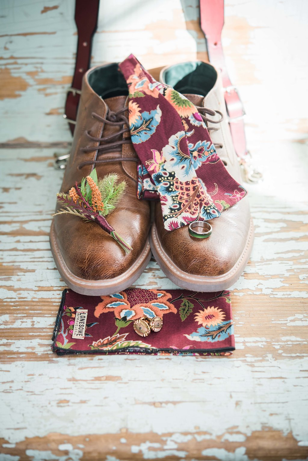 Maroon Floral Grooms Tie and Brown shoes Chicago Wedding Inspired Eye Photography