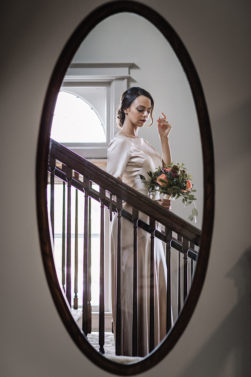 Long Sleeve Silk Wedding Gown Chicago Wedding lisa kathan photography