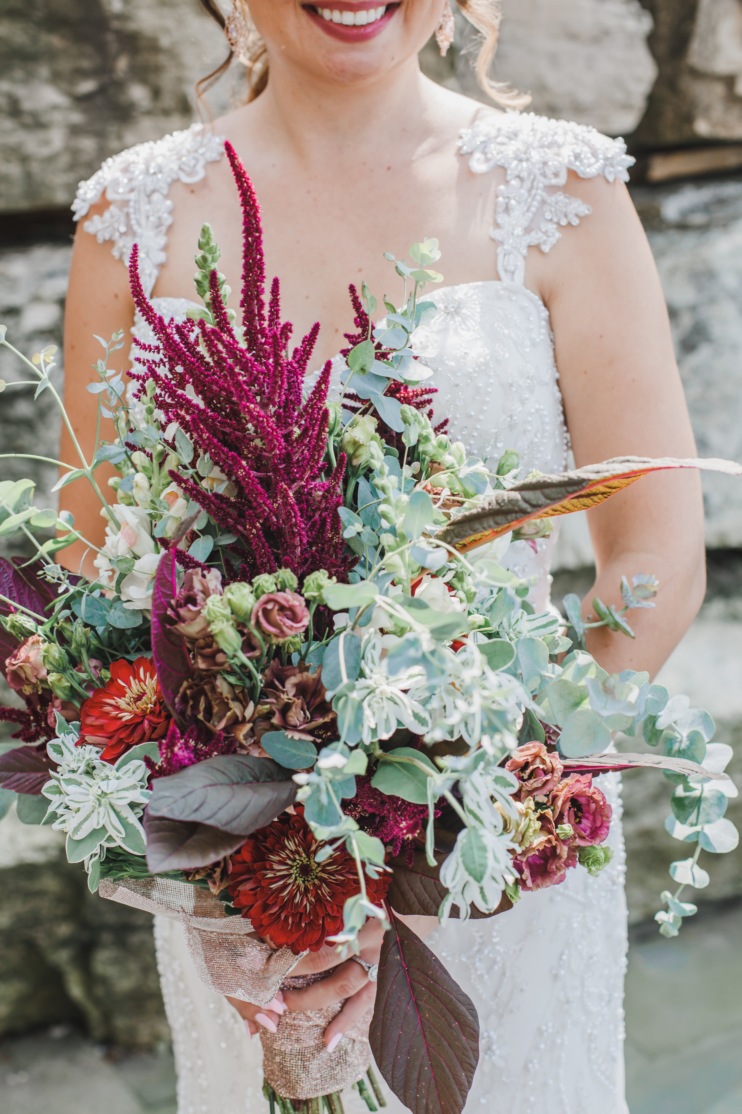 Red and Pink with Greenery Bridal Bouquet Chicago Wedding Grey Garden Creative