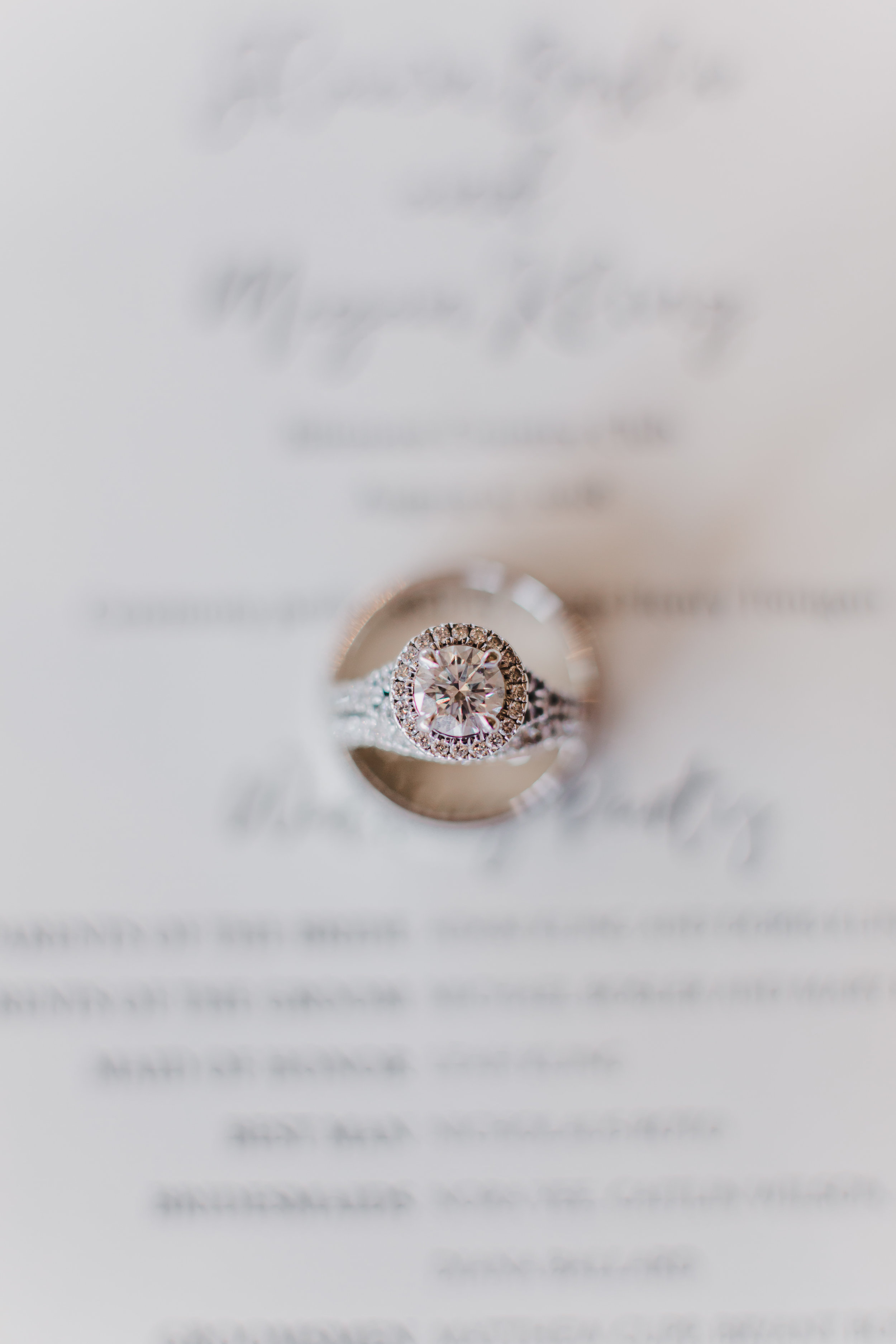 Glamorous Solitaire Engagement Ring Chicago Wedding Grey Garden Creative