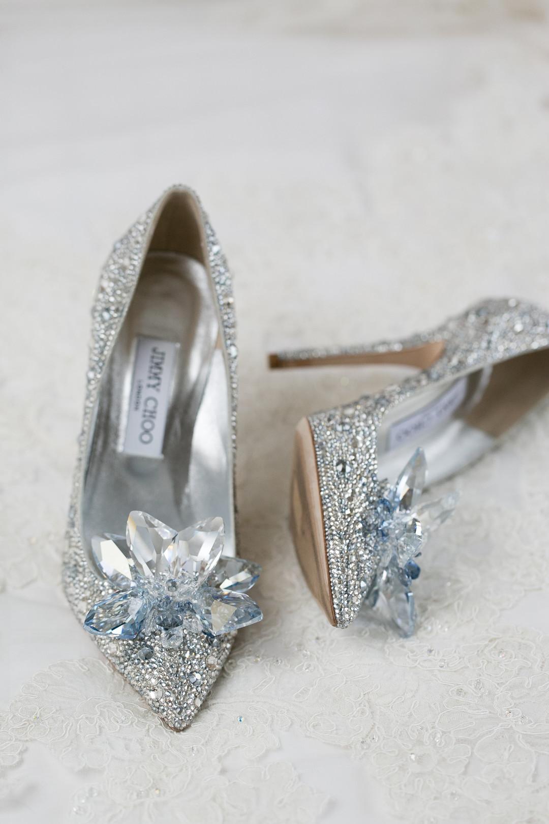 JImmy Choo Silver Sparkle Wedding Heels Chicago Wedding Emilia Jane Photography