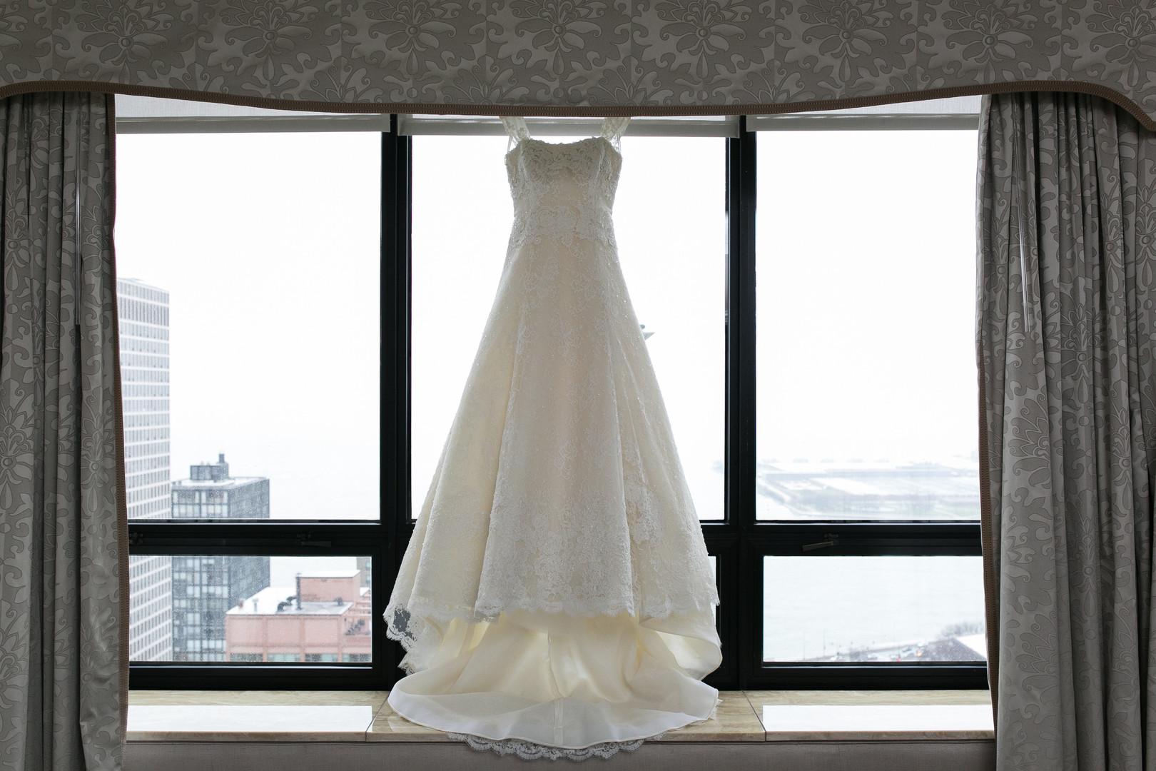 White A Line Romantic Wedding Dress Chicago Wedding Emilia Jane Photography