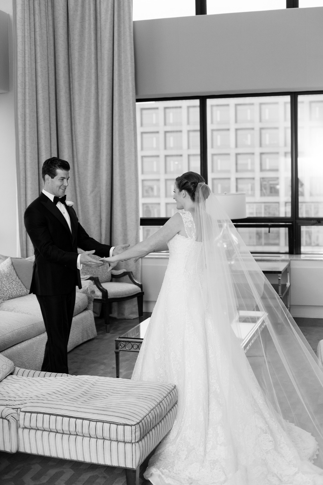Bride and Groom First Look Chicago Wedding Emilia Jane Photography