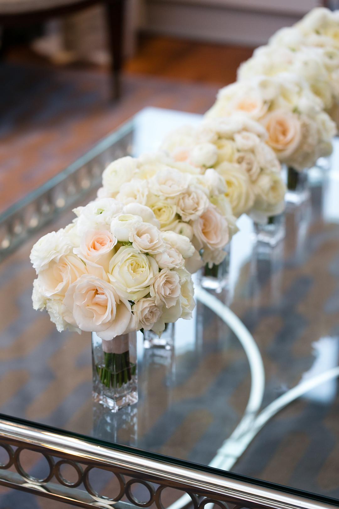 Romantic White Rose Bridesmaid Bouquets Chicago Wedding Emilia Jane Photography