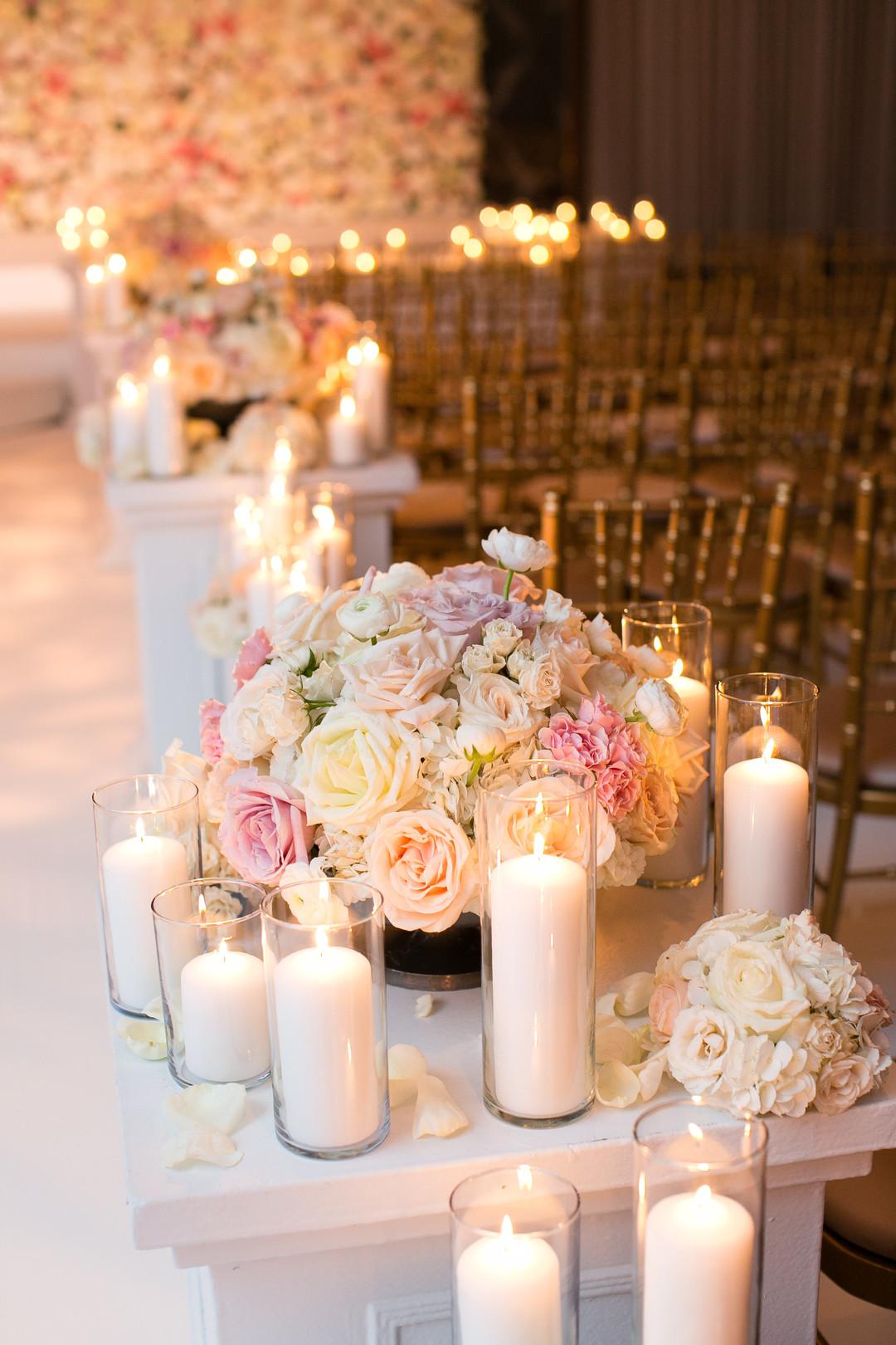 White Roses and Candles Aisle way Chicago Wedding Ceremony Emilia Jane Photography