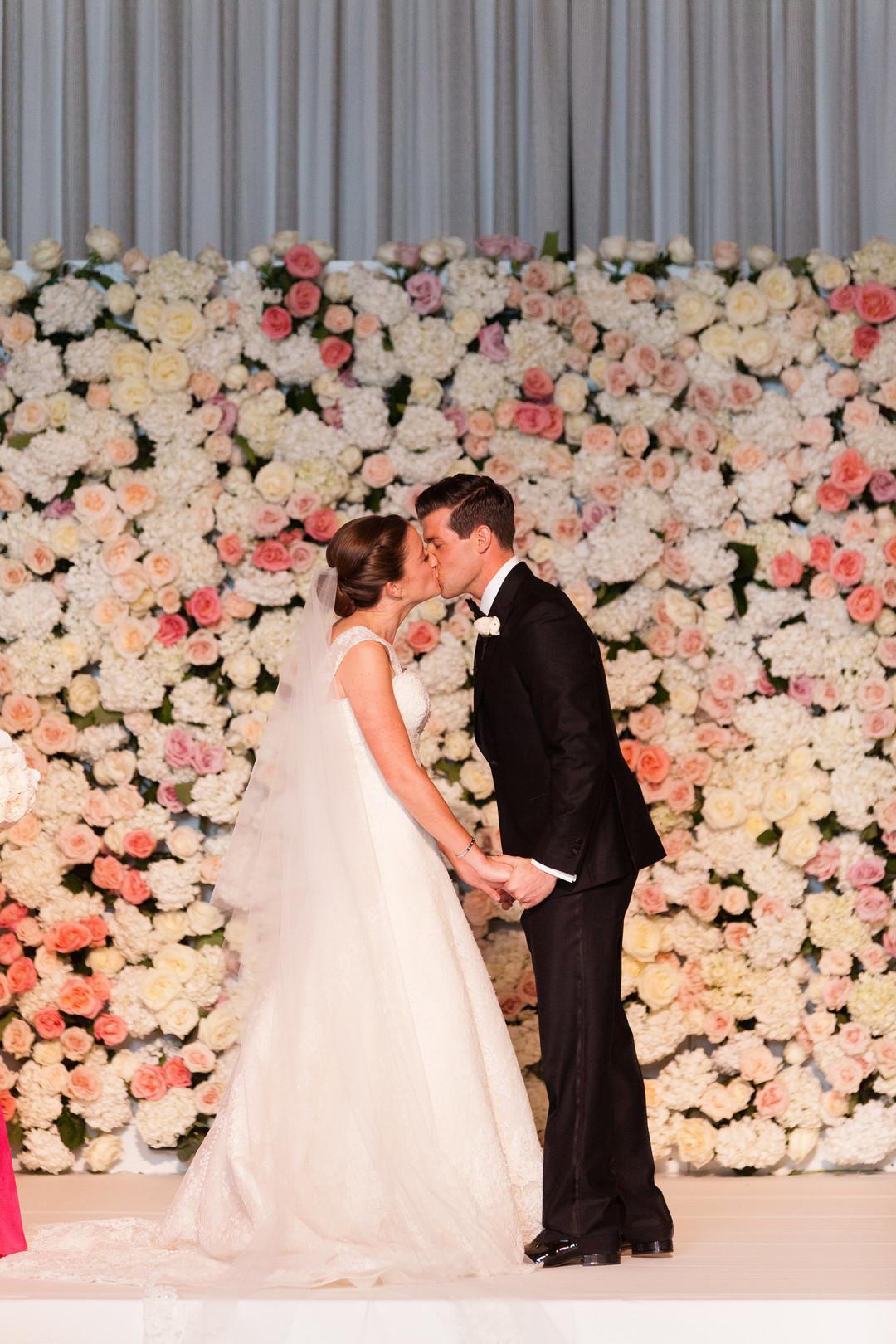 Bride and Groom First Kiss Chicago Ritz Carlton Wedding Emilia Jane Photography