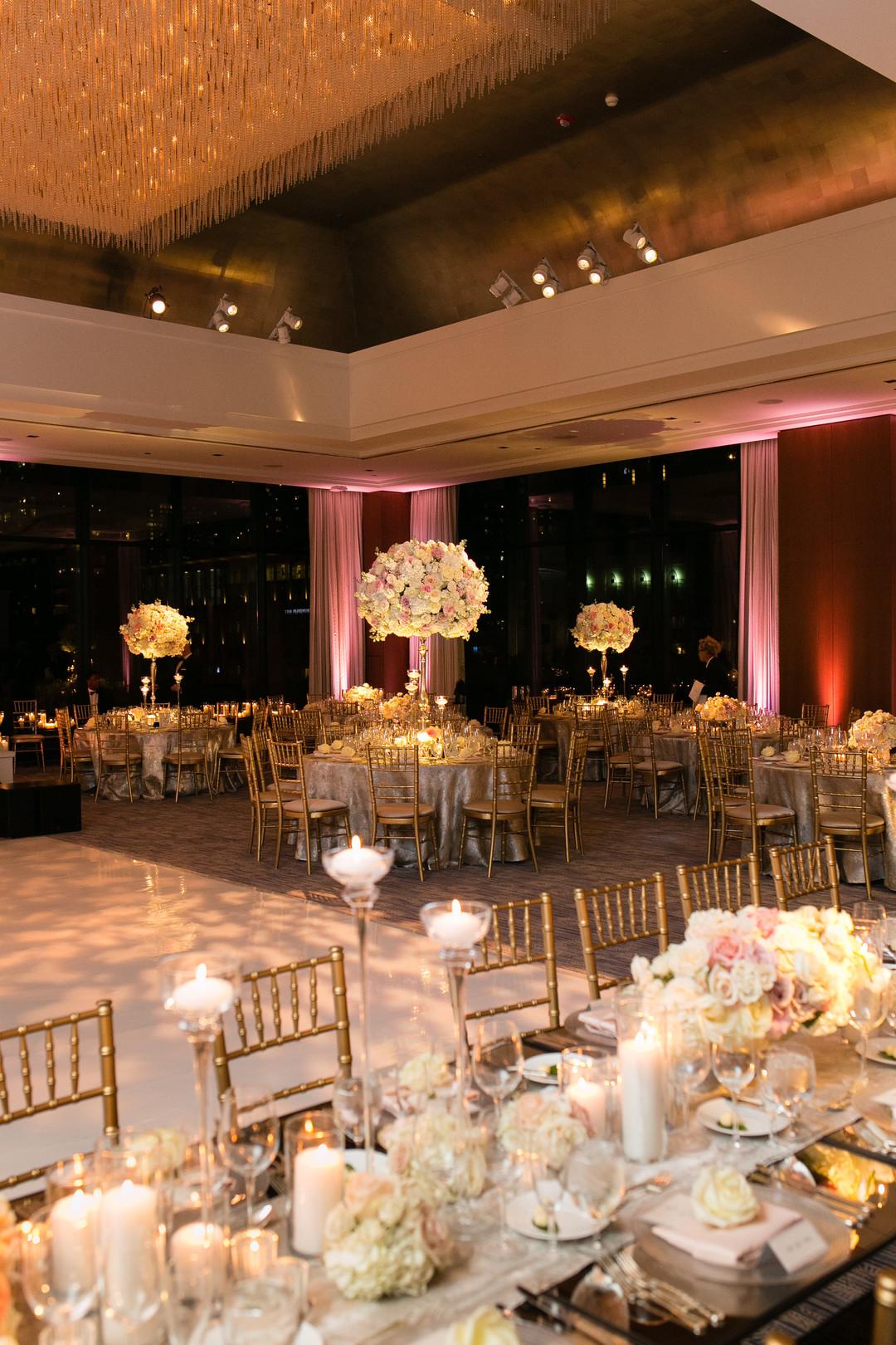Glamorous White Rose and Pink Center Pieces Chicago Wedding Emilia Jane Photography