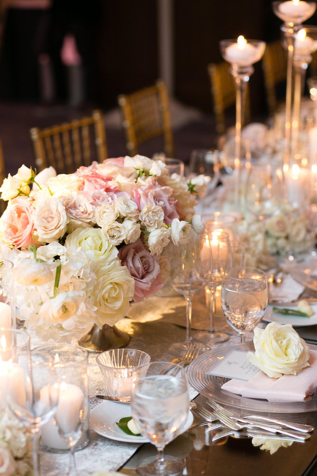 White Rose Center Pieces Chicago Wedding Emilia Jane Photography