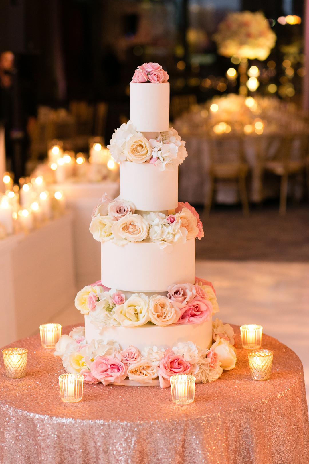4 Tier Glamorous White and Pink Rose Wedding Cake Chicago Wedding Emilia Jane Photography