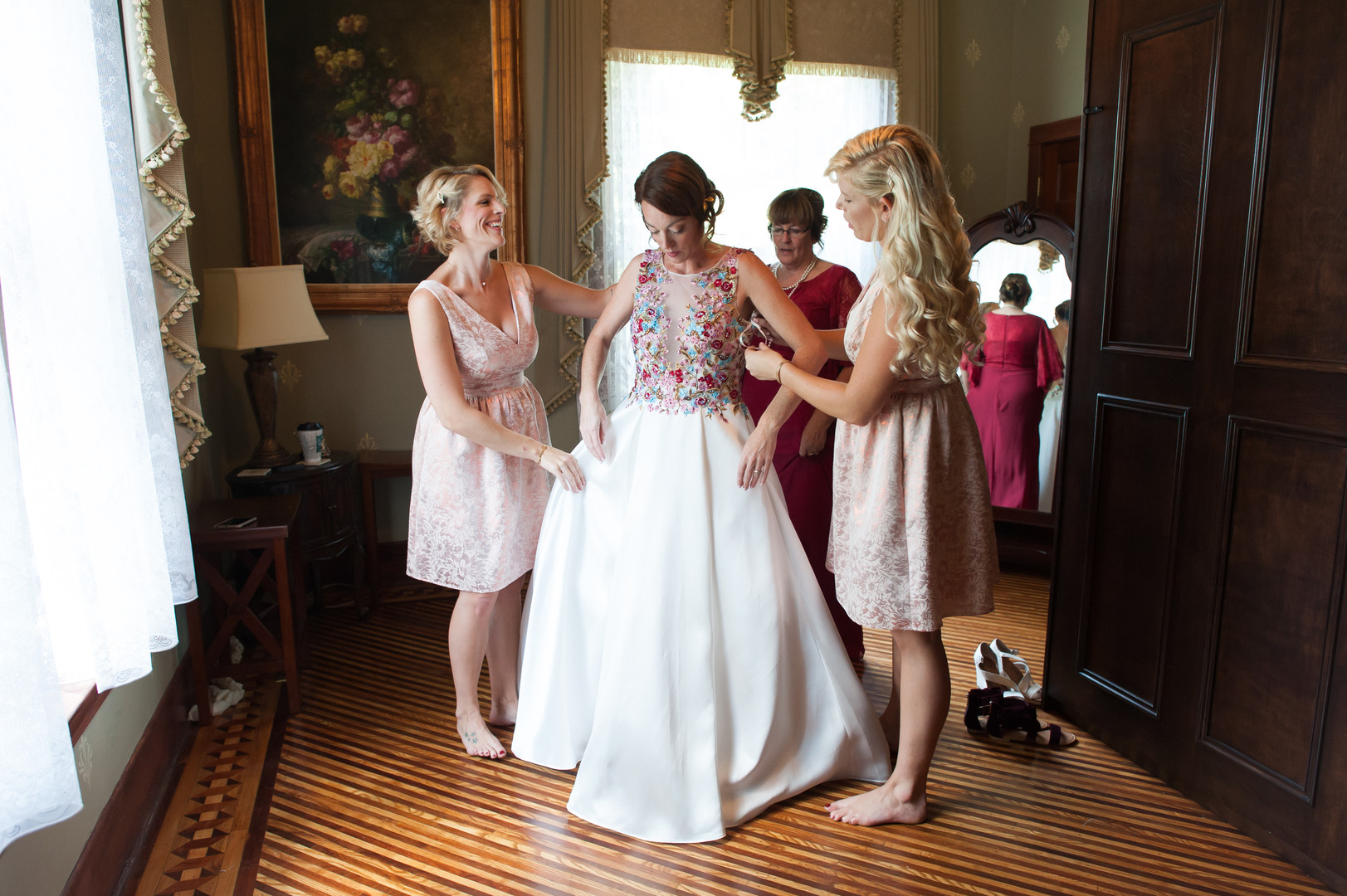Gold and Pink Bridesmaid Gowns Chicago Wedding Elite Photography