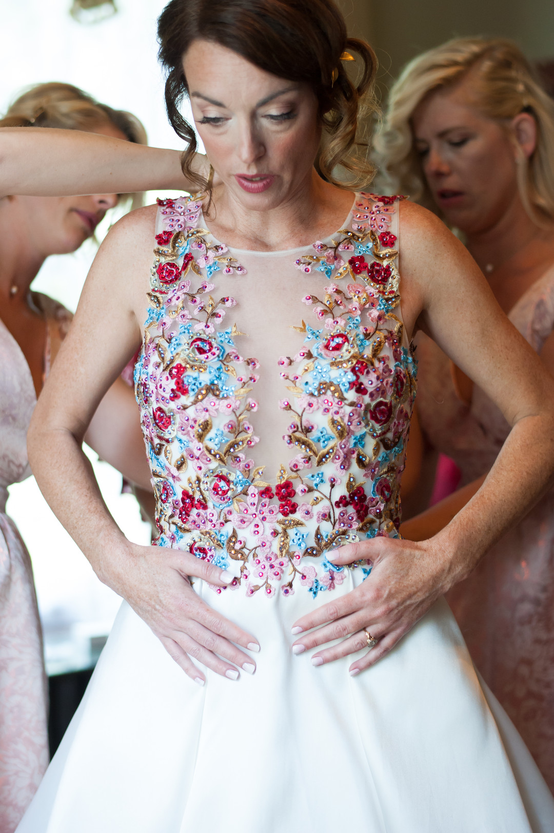 Colorful Floral Bridal Gown Chicago Wedding Elite Photography