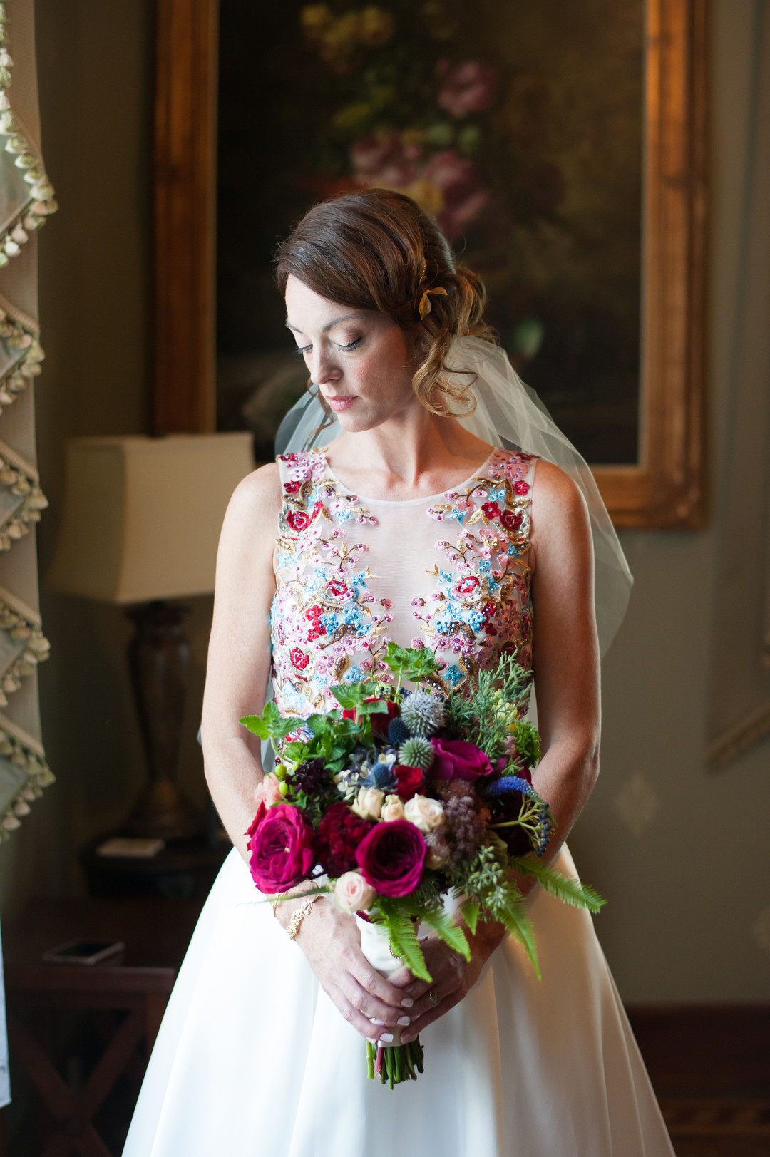 Pink and Blue Vibrant Bridal Bouquet Chicago Wedding Elite Photography