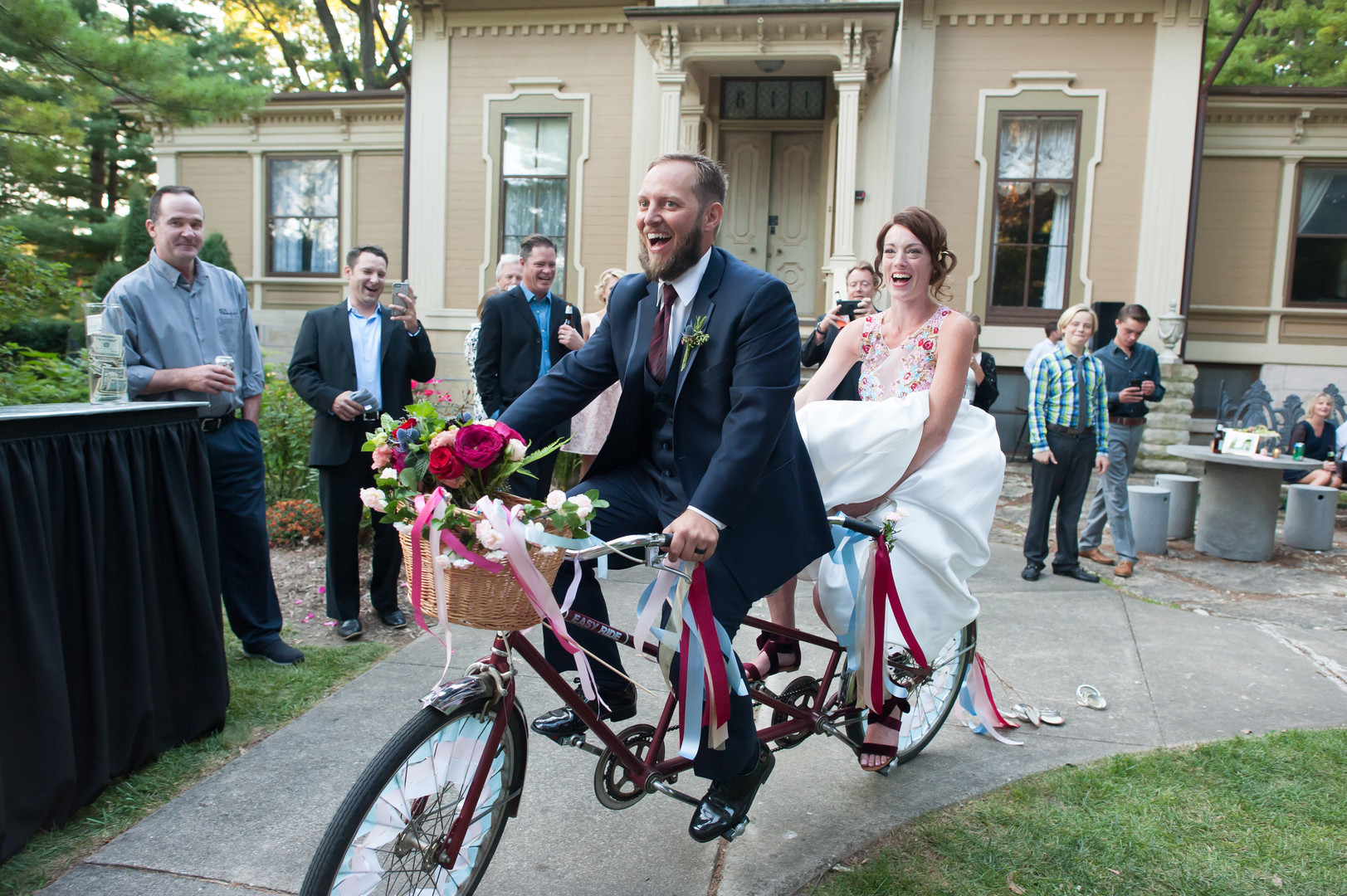 Bride and Groom Ceremony Exit Tandem Bicycle Chicago Wedding Elite Photography