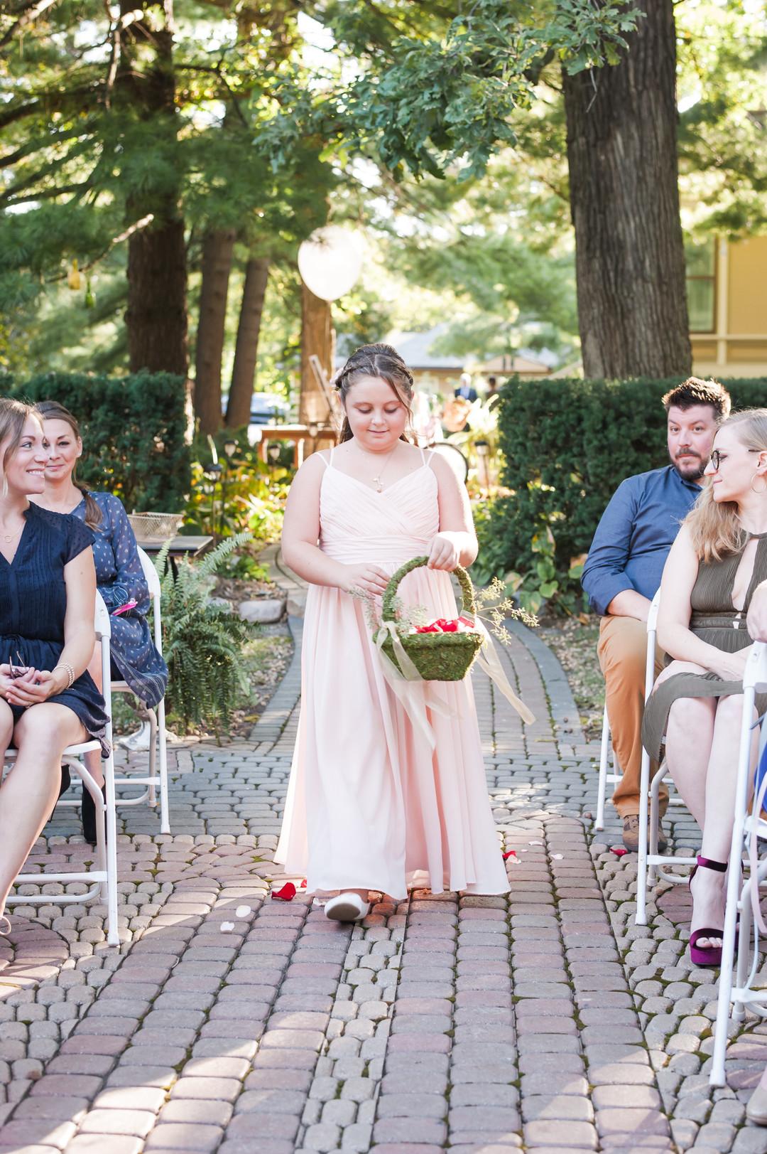Pastel Pink Flower Girl Gown Chicago Wedding Elite Photography