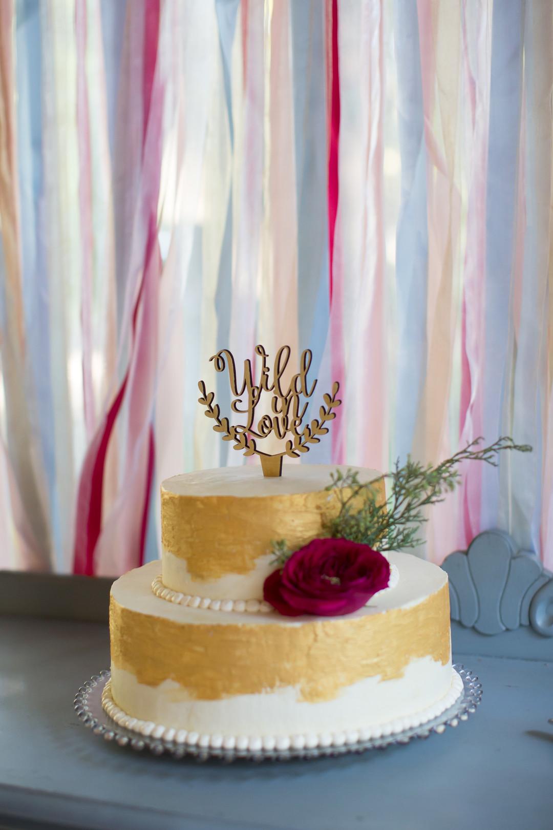 Wild in Love Gold Wedding Cake Topper Chicago Wedding Elite Photography