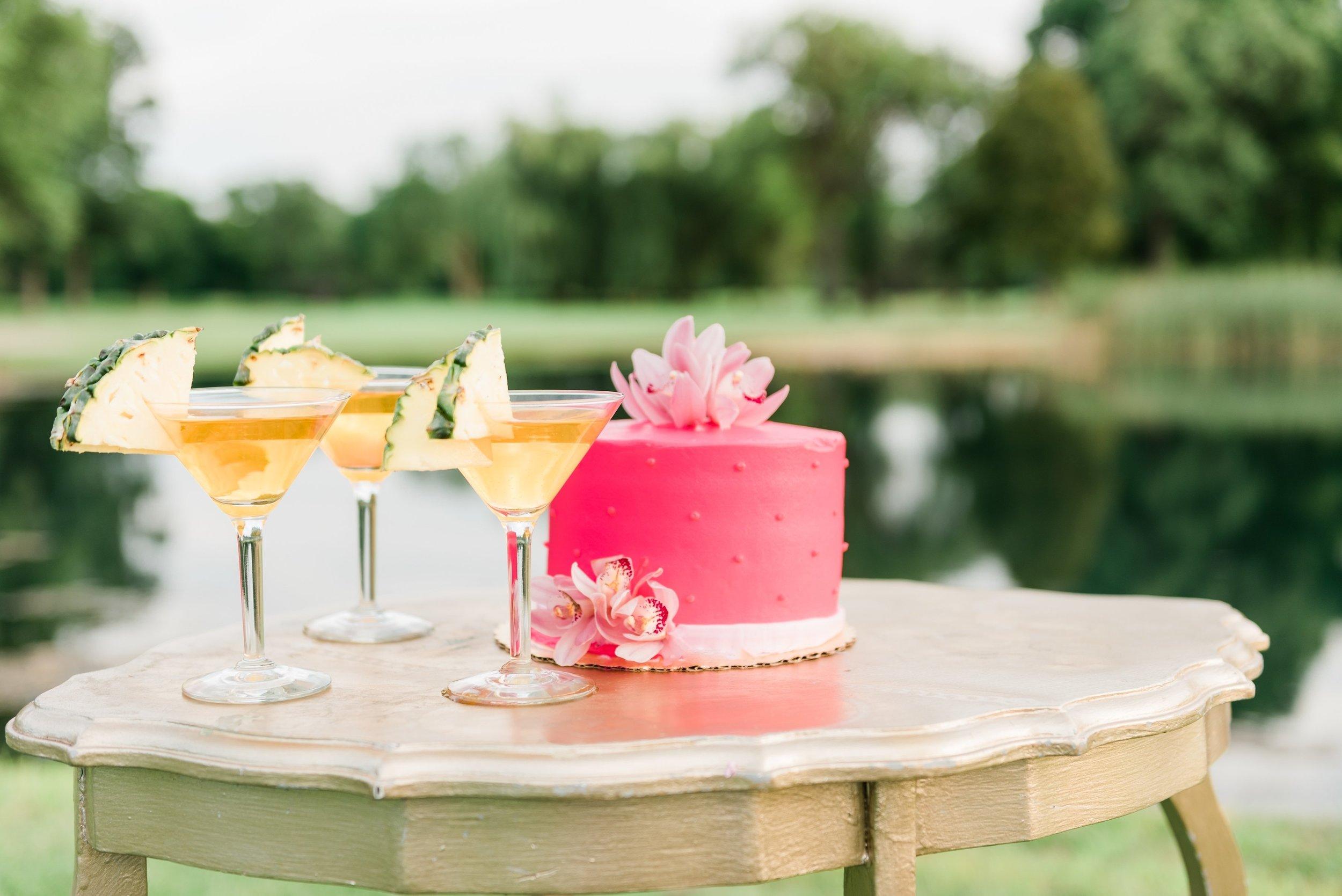 Pink One Tier Wedding Cake Chicago Wedding Anamaria Vieriu Photography