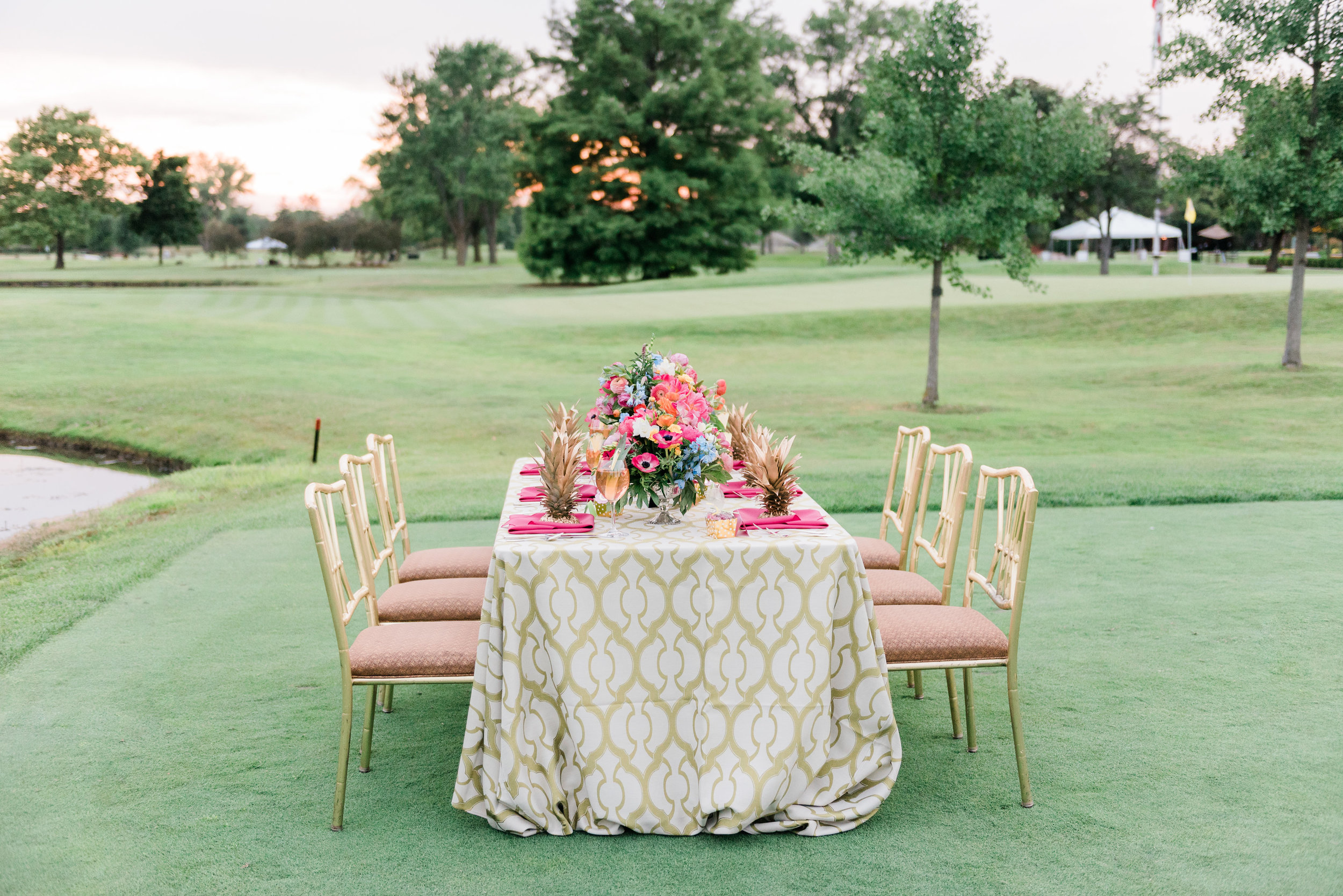 Pink Green and Gold Table Setting With Pineapples Chicago Wedding Anamaria Vieriu Photography