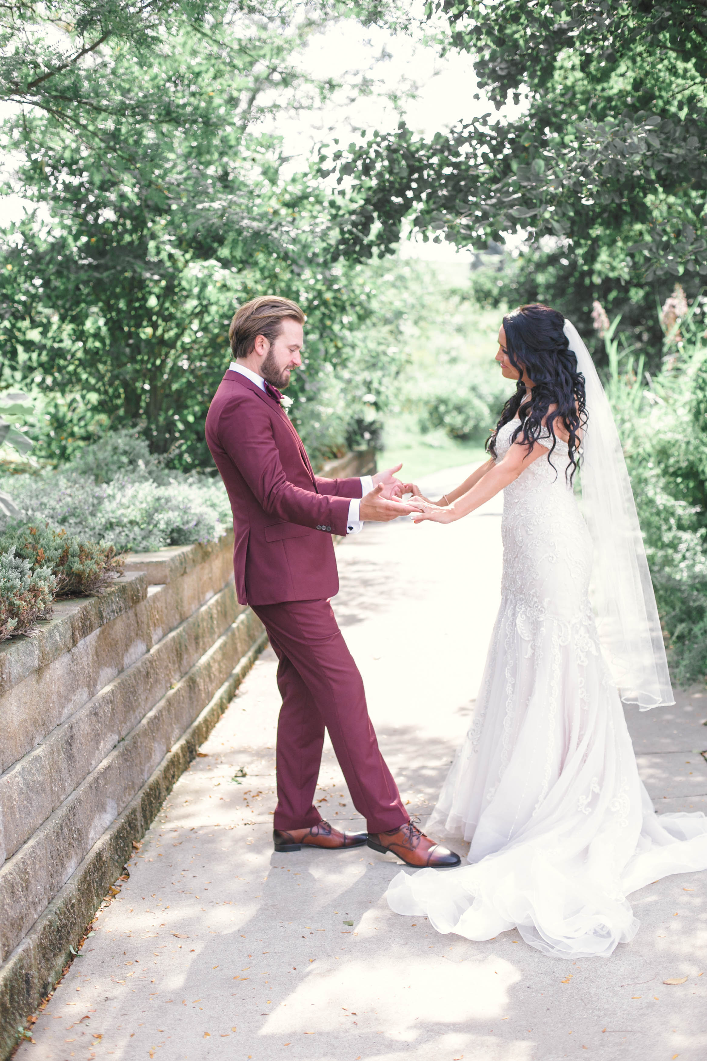 Maroon Groom Tux Chicago Wedding Michelle Cox Photography