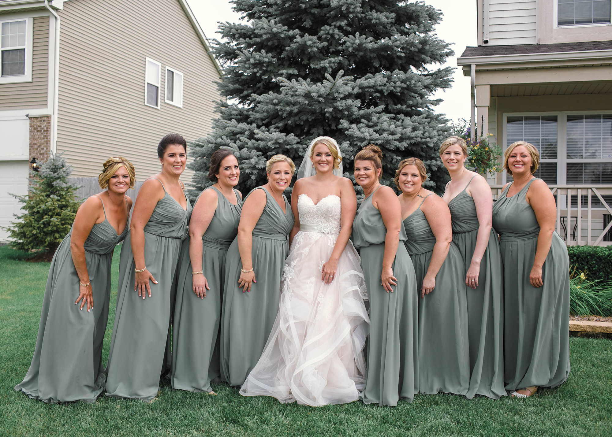 Green Bridesmaid Gowns Chicago Wedding Michelle Cox Photography