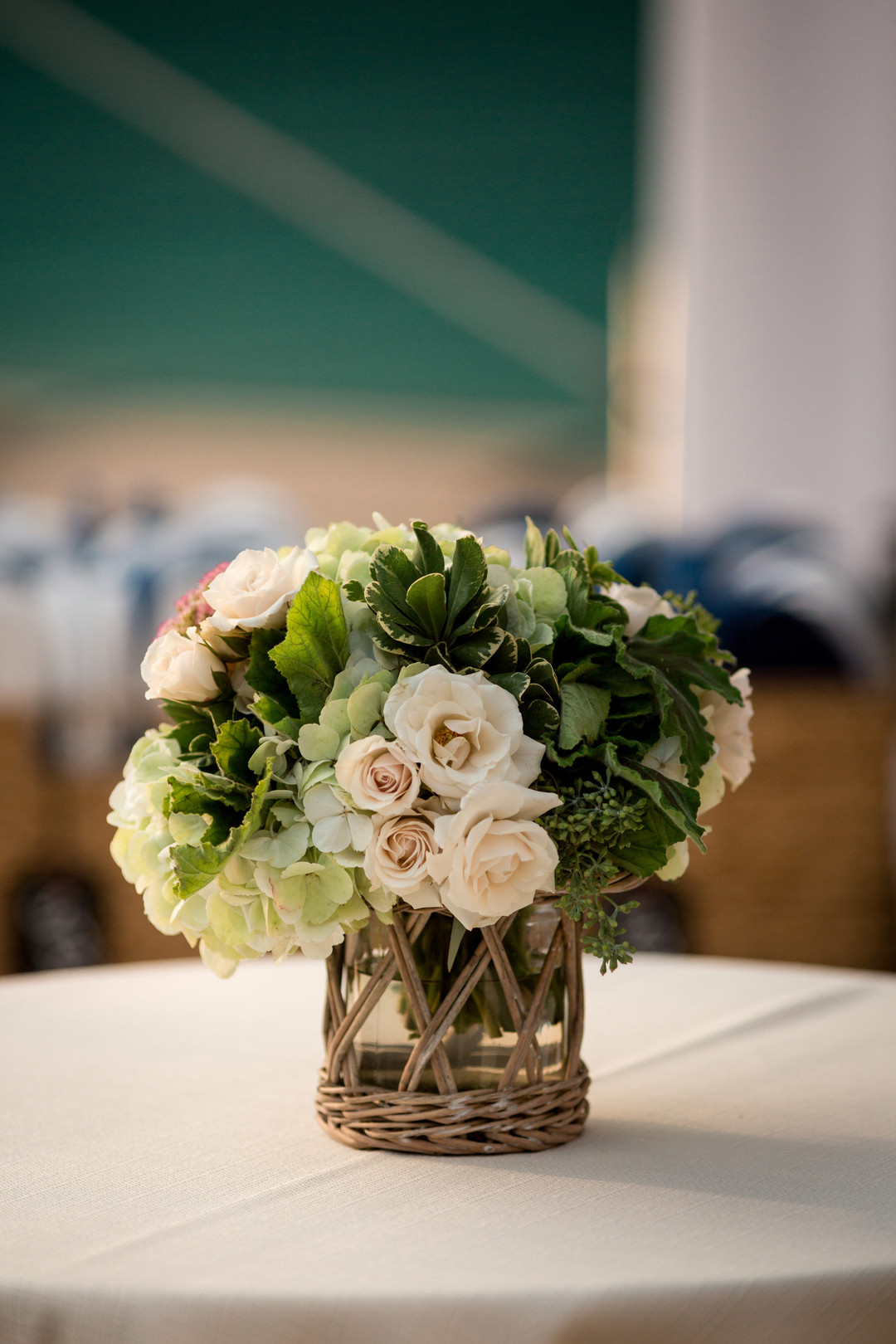 White Rose and Greenery Center Pieces Chicago Wedding Julia Franzosa Photography