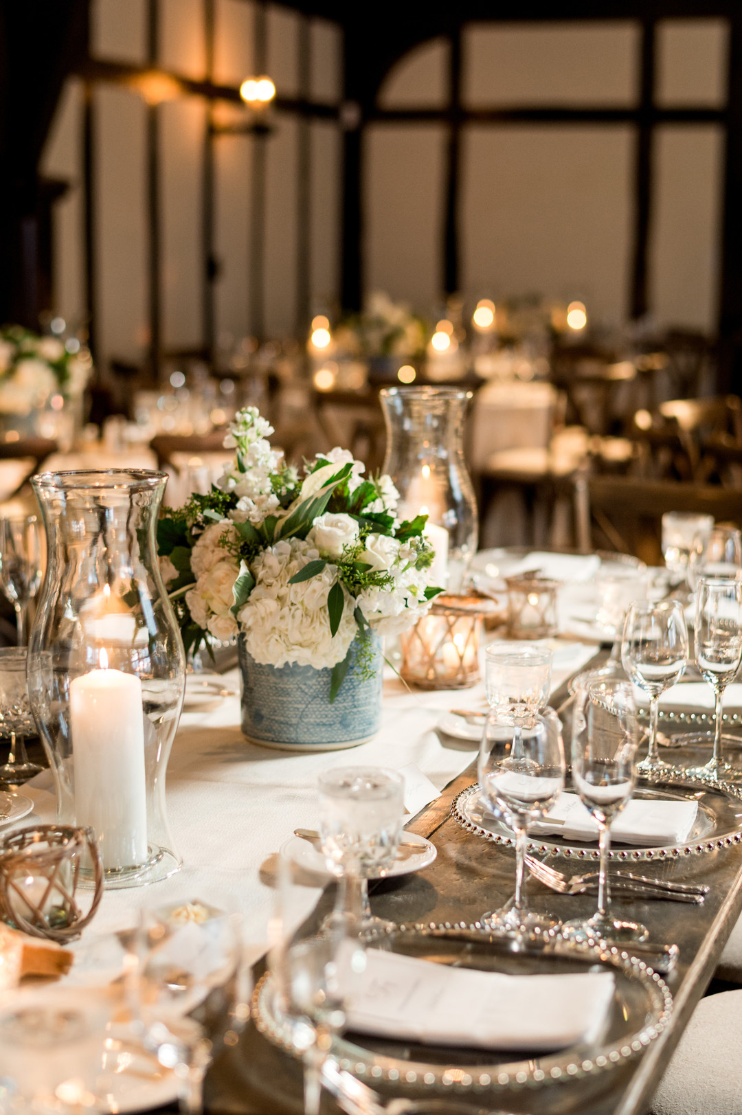 White Rose Table Center Pieces Chicago Wedding Julia Franzosa Photography