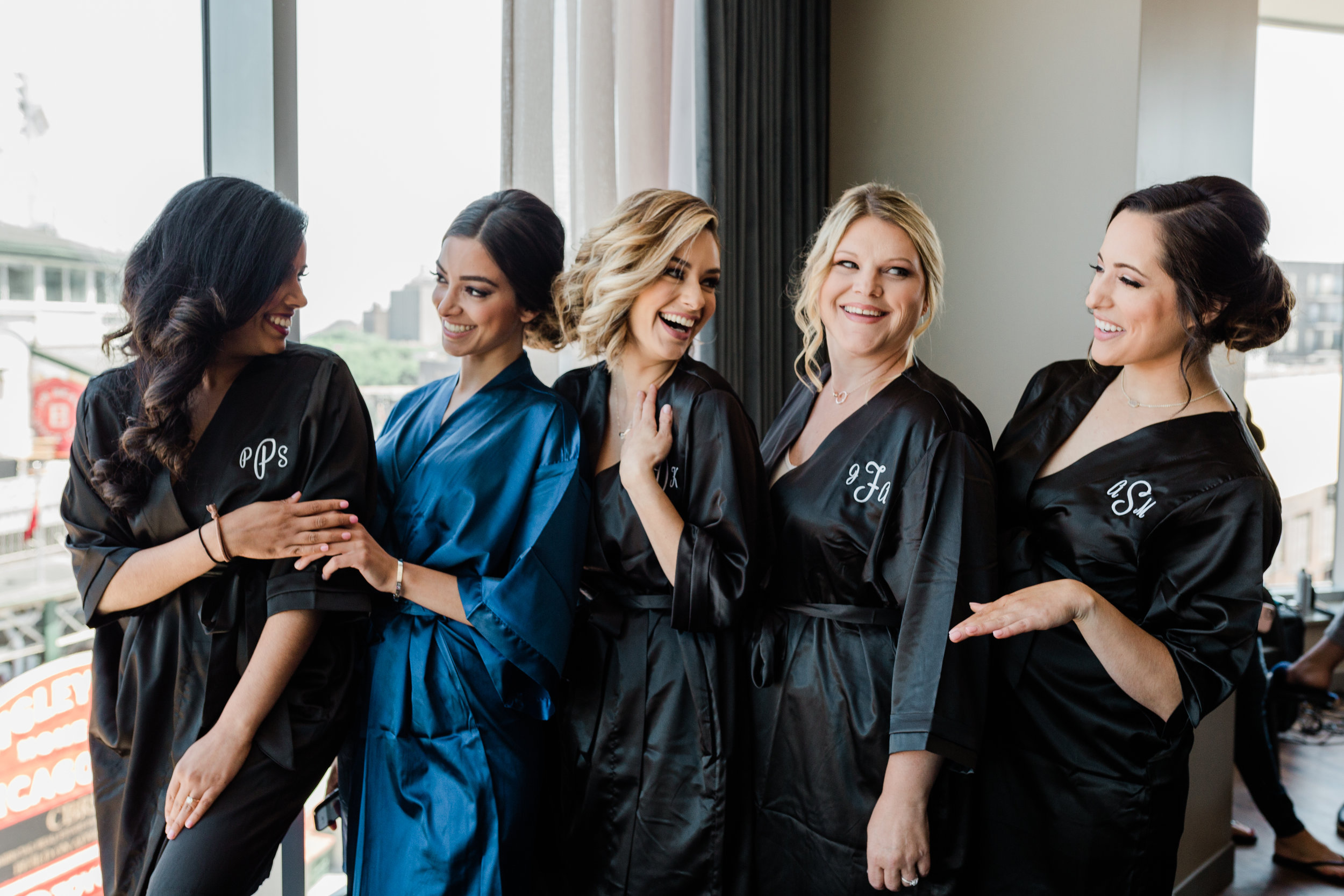 Black and Blue Bridesmaid Robes Chicago Wedding Lindsey Taylor Photography