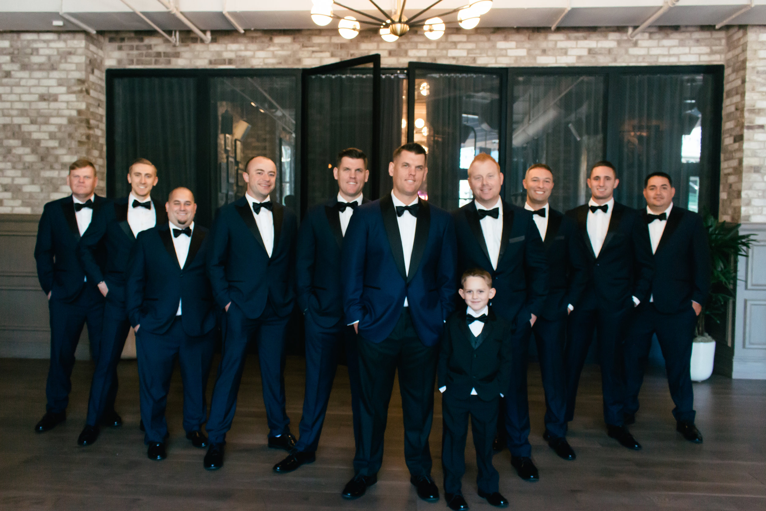 Navy and Black Groomsmen Tuxedos Chicago Wedding Lindsey Taylor Photography