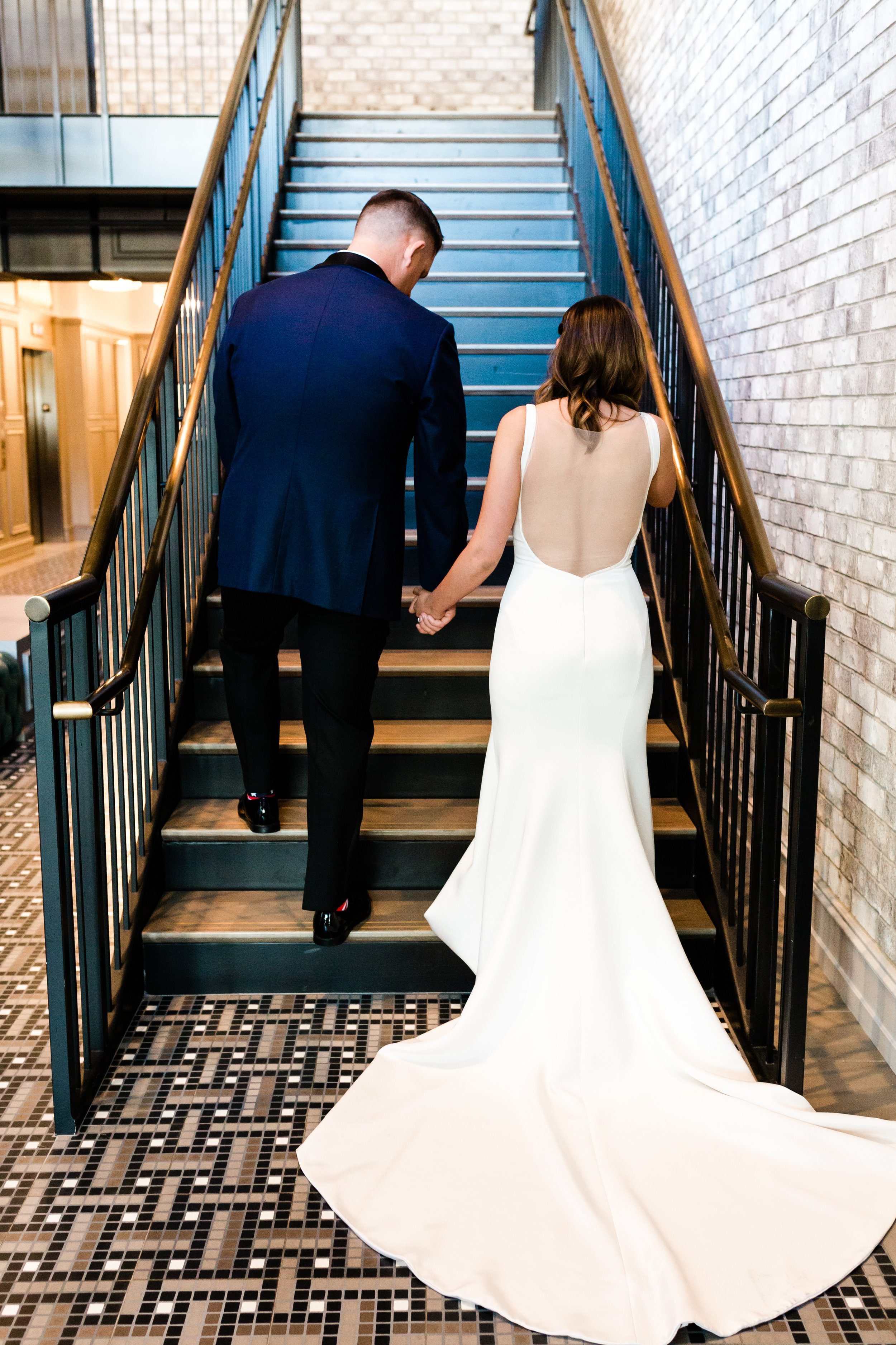 Low Back Elegant Wedding Gown Chicago Wedding Lindsey Taylor Photography