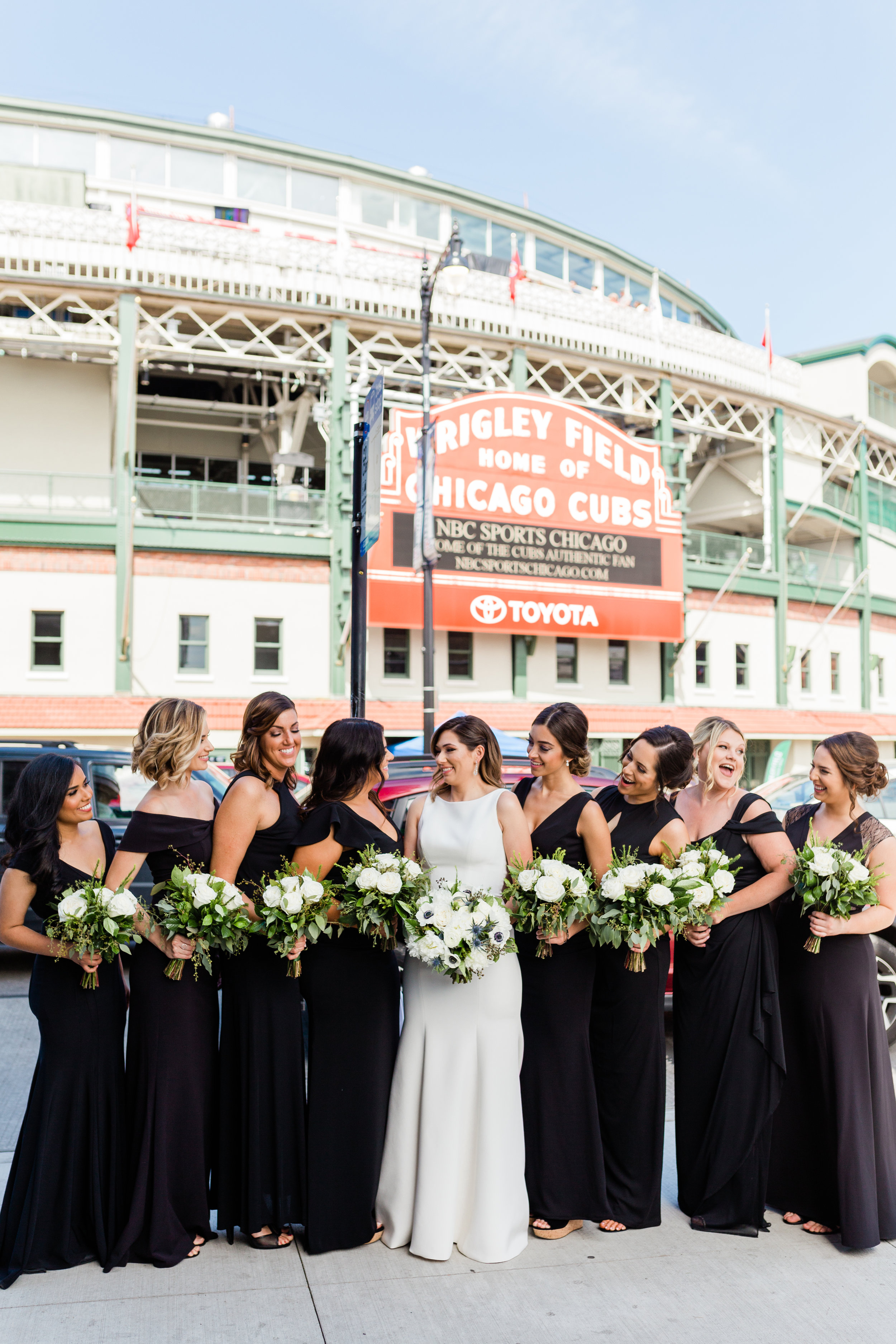 Elegant Black Bridesmaid Gowns Chicago Wedding Lindsey Taylor Photography