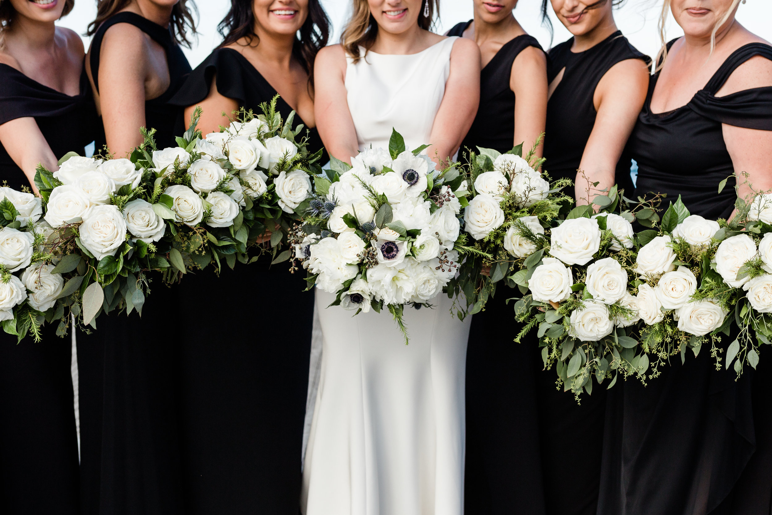 White Rose Bridal and Bridesmaid Bouquets Chicago Wedding Lindsey Taylor Photography