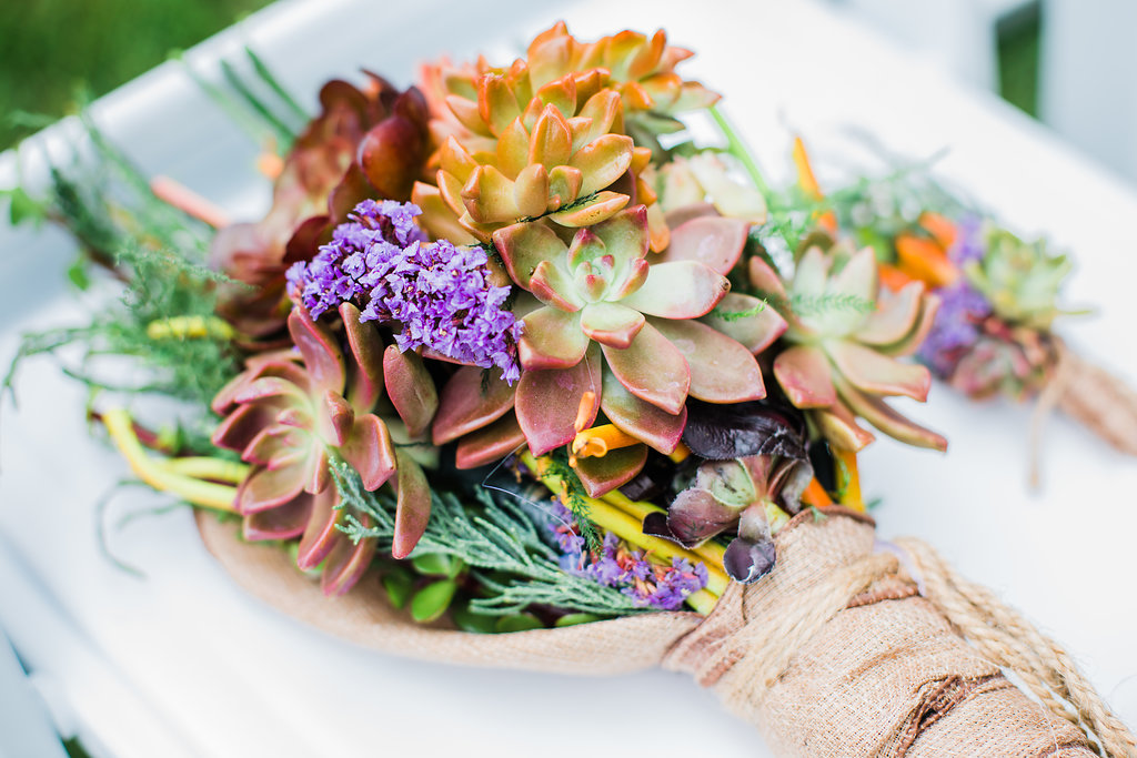 Vibrant Succulent Bridal Bouquet Chicago Wedding