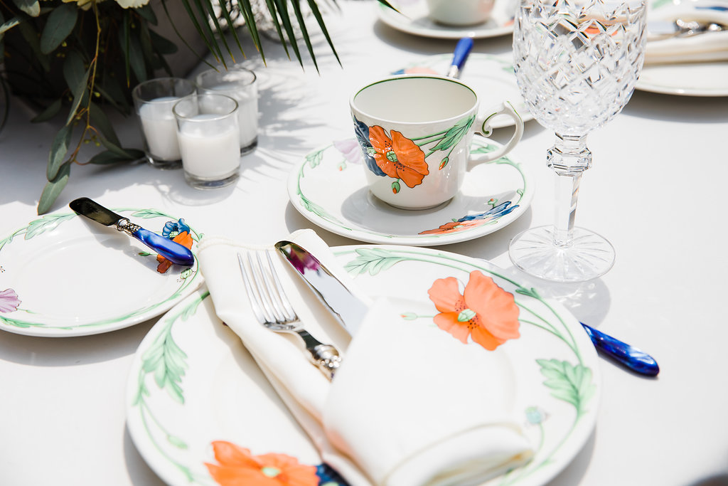 Floral Table Setting Intimate Chicago Backyard Wedding Ella Farrell Weddings