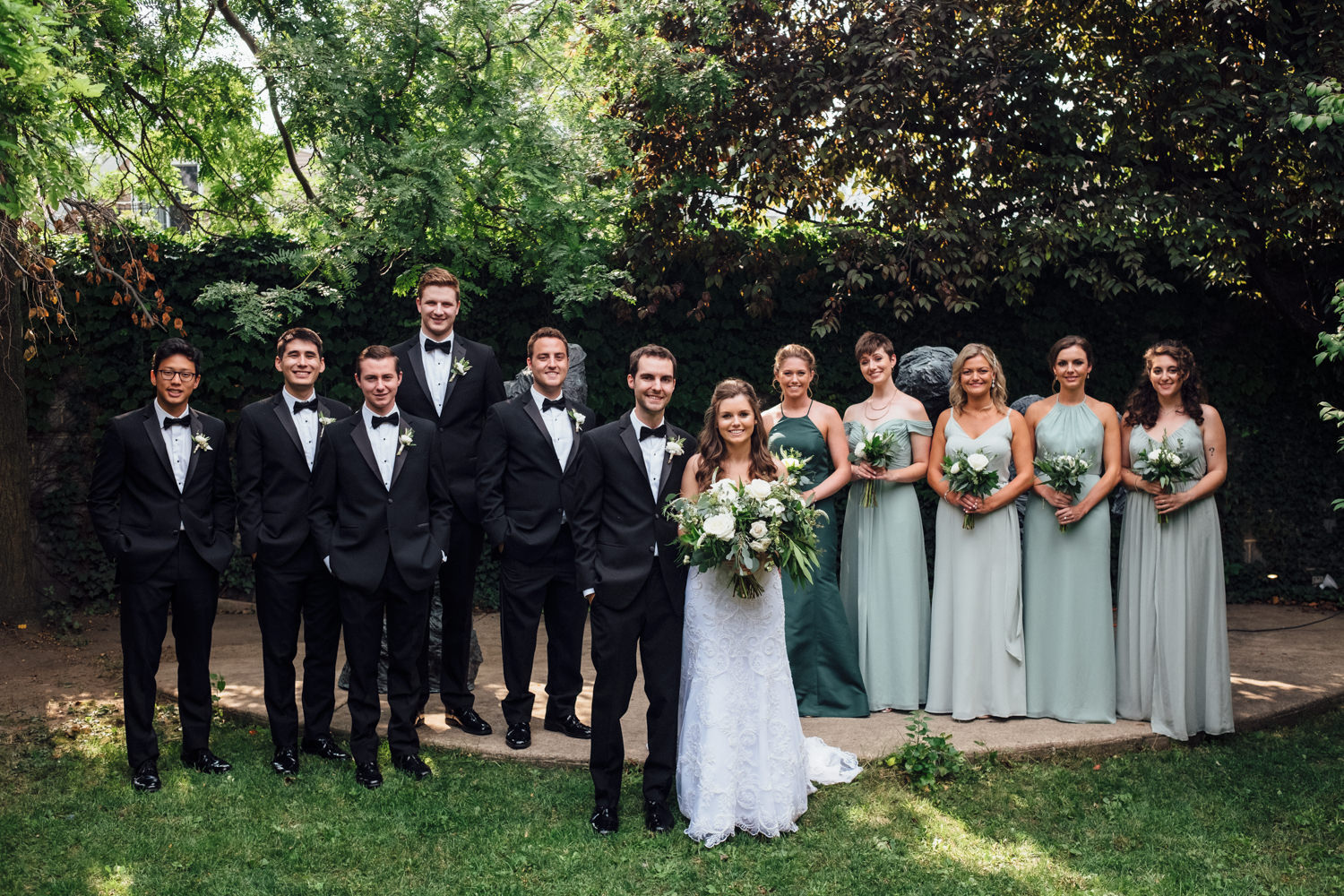 Light Green Bridesmaid Gowns Chicago Wedding Cling & Peck