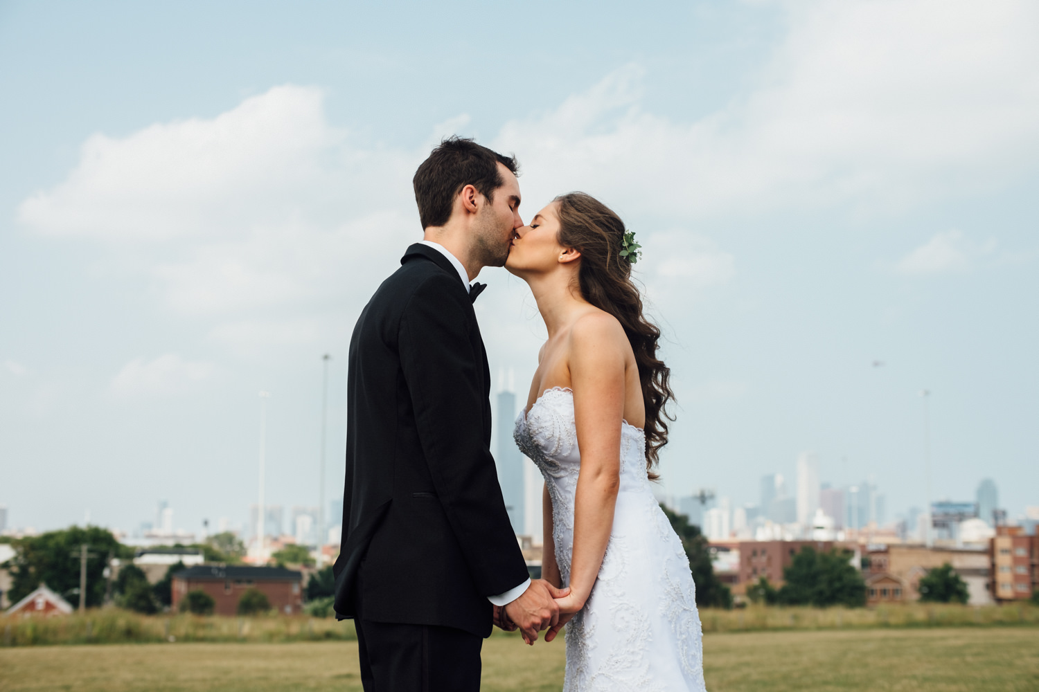 Romantic Bride and Groom Portrait Chicago Wedding Cling & Peck