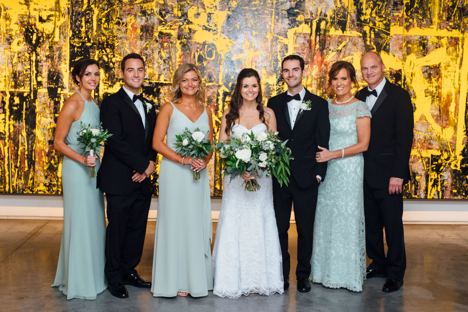 Light Green Bridesmaid Gown Chicago Wedding Cling & Peck