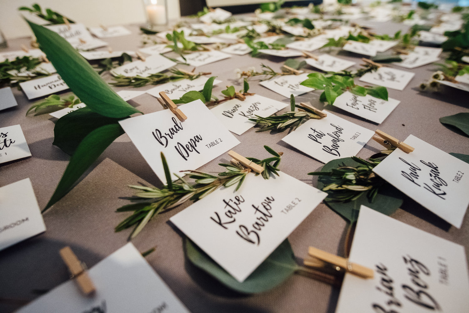 Greenery Table Cards Chicago Wedding Cling & Peck