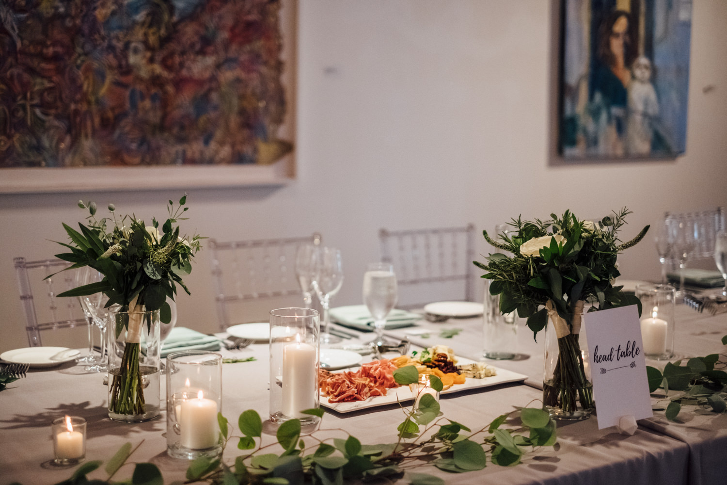 Greenery Table Settings Chicago Wedding Cling & Peck