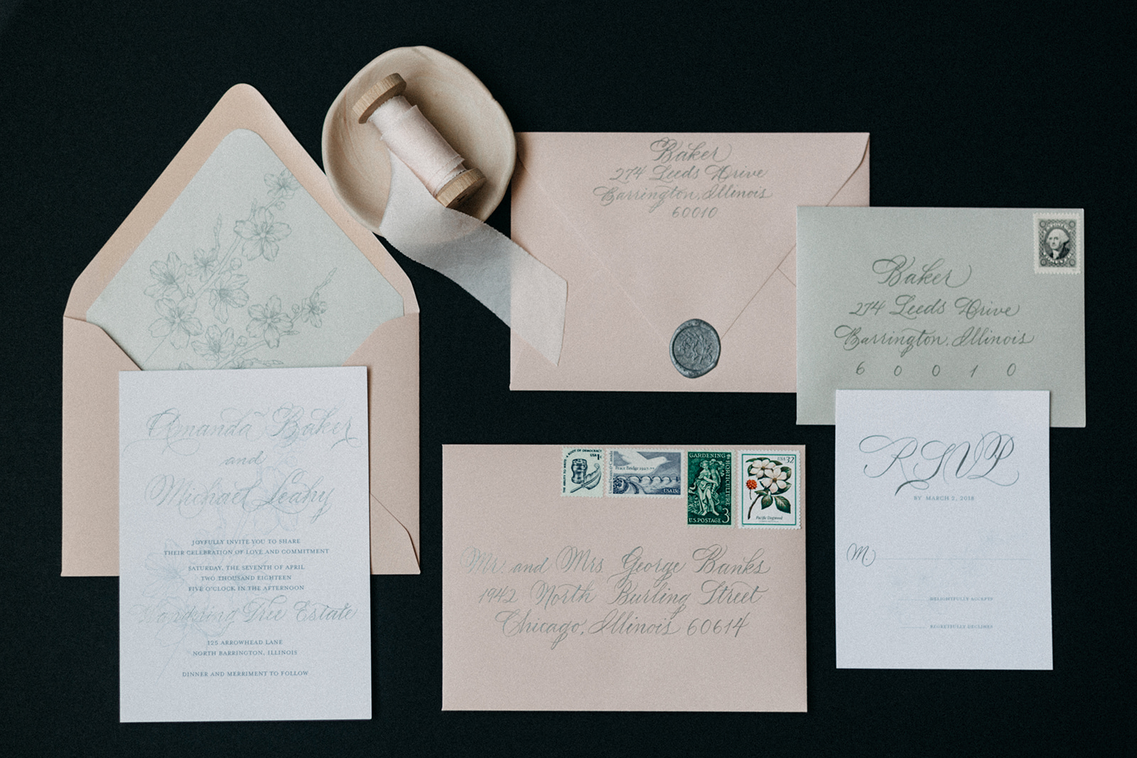 Rose Colored Wedding Invitation Chicago Wedding lisa kathan photography